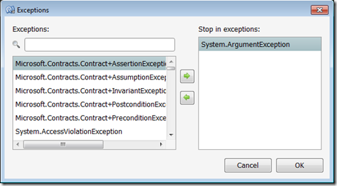 Configuring Stop in exceptions in MonoDevelop